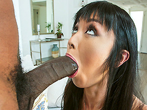 Giggly Marica Hase marveling at a huge black cock image 2